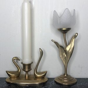 Vintage brass candle holder bundle